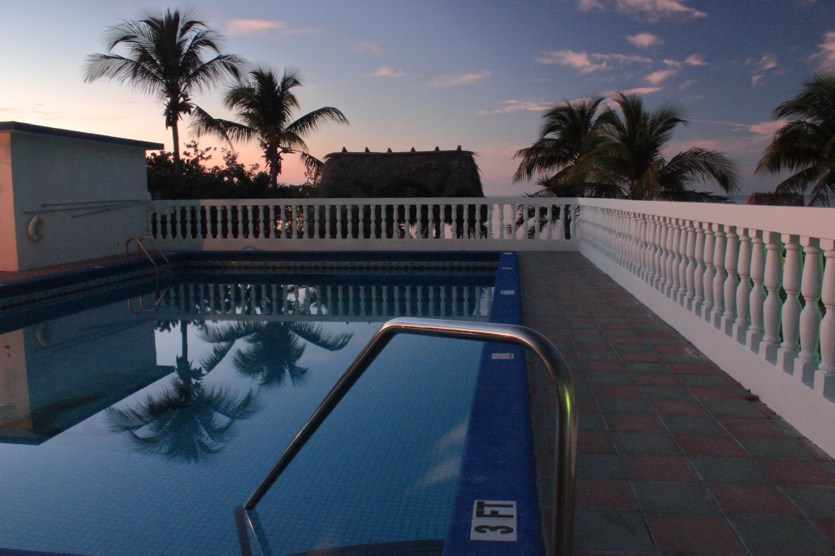 Tranquil Gulf View Pool at sunset